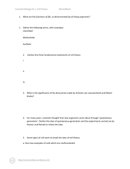 English worksheets: Cell parts, cell theories, etc
