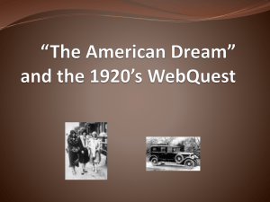 """The American Dream"" and the 1920's WebQuest"