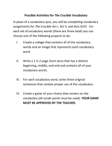 Possible Activities for The Crucible Vocabulary