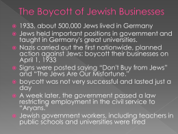 The Boycott of Jewish Businesses