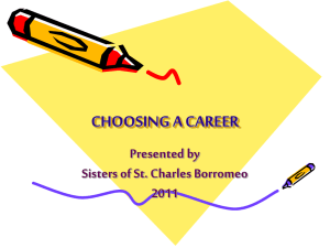 choosing a career - Sisters of St. Charles Borromeo