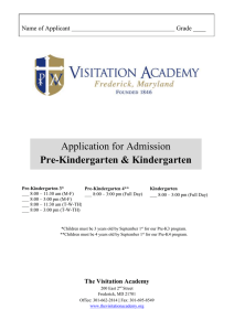 Application for Pre-K 3 through Kindergarten