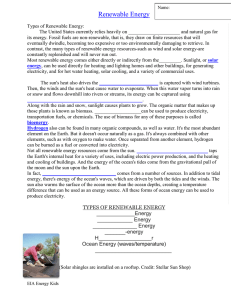 Renewable/Nonrenewable energy notes handout