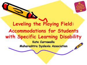 Accommodations for Students with Specific Learning Disability