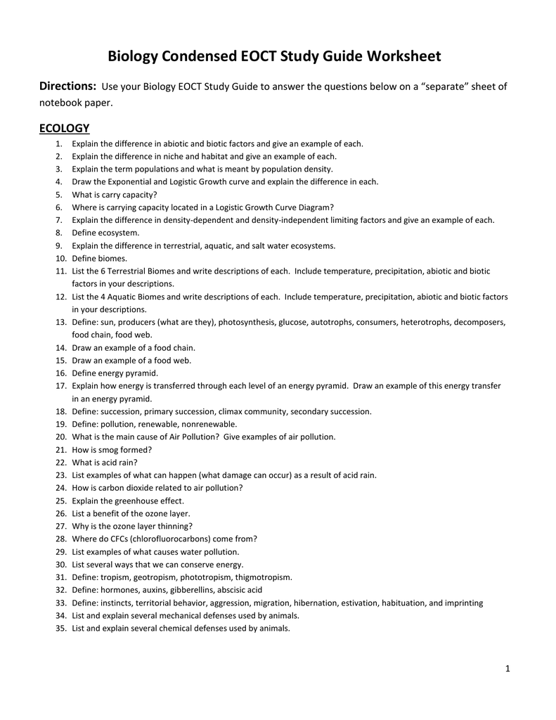 worksheet Air Pollution Worksheet condensed eoc study guide created by mrs silver worksheet