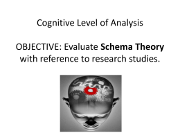 Cognitive Level of Analysis OBJECTIVE: Evaluate Schema Theory