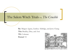 The Salem Witch Trials vs. The Crucible
