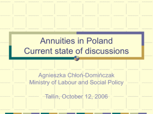 Annuities in Poland Current state of discussions