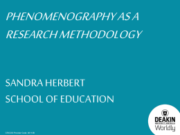 Phenomenography as a Research Methodology – by Sandra Herbert
