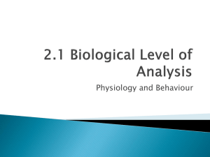 2.1 Biological Level of Analysis