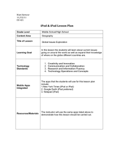 iPod iPad Lesson Plan