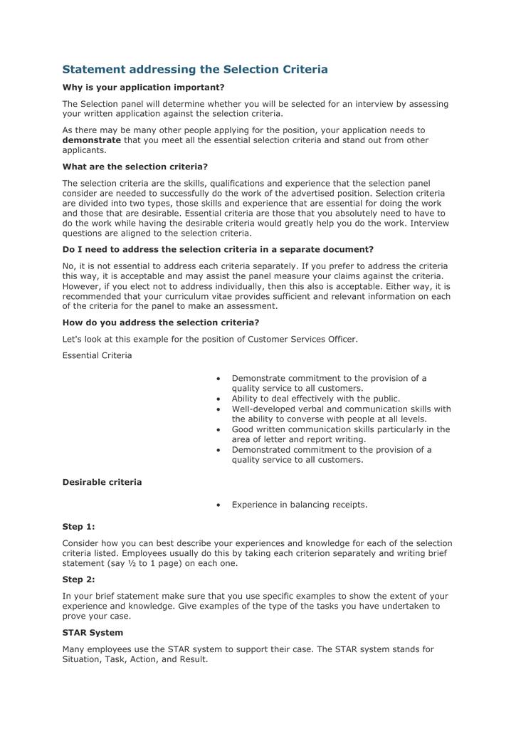 key selection criteria responses example teaching