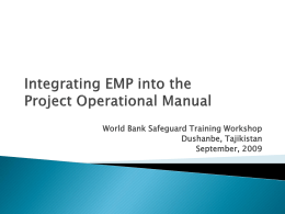 Integrating EMP into Operational Manual