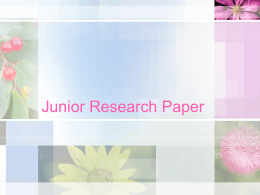 Junior Research Paper Overview (PowerPoint)