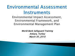 Environmental Assessment: Issues and Instruments Environmental