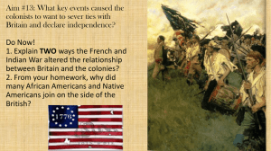 Aim #13 What key events led to the American Revolution?