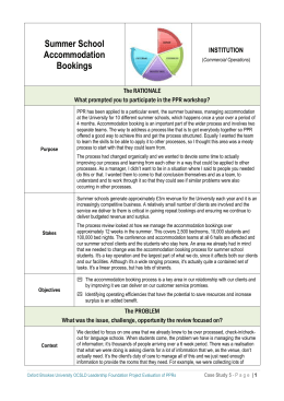 Case study 5: summer school accommodation bookings