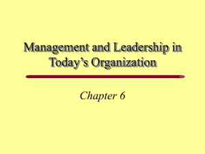 Management and Leadership in Today's Organization