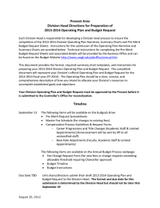 2013-2014 Operating Plan and Budget Request Narrative