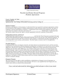 Student Agreement - Office of International Programs (OIP)