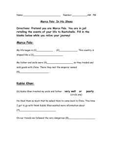 Marco Polo: In His Shoes Answer Sheet