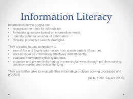 EPQ Information Literacy