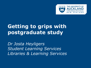 Getting to grips with postgraduate study