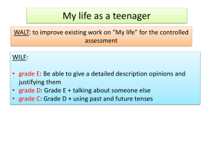 Week 5 My life as a teenager assessment preparation.