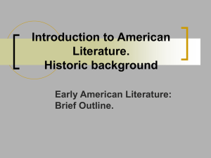 1. Introduction to American literature. Historic background