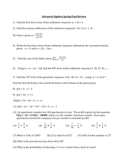 Advanced Algebra Spring Final Review Find the first four terms of