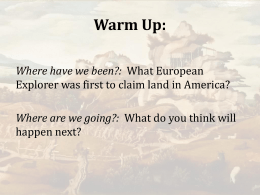 Warm Up: Where have we been?