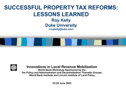 Successful Property Tax Reforms: Lessons Learned