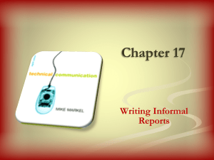 Writing Informal Reports