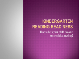 Kindergarten Reading Readiness