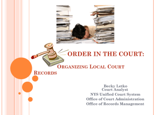 ORGANIZING COURT RECORDS - New York Association of Local