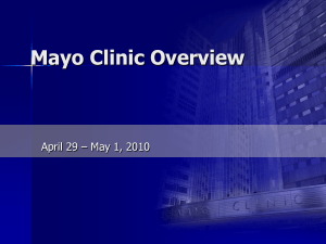 Mayo Clinic in Rochester Orthopedic Activities