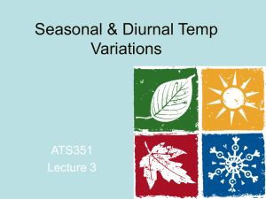 Seasonal & Diurnal Temperature Variations