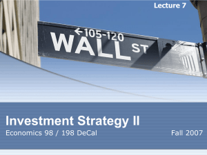 Lecture 4 Investment Strategies / Fundamental Analysis