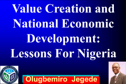 Value creation and national economic development