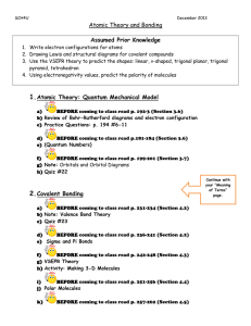 Atomic Theory and Bonding Outline December 2013