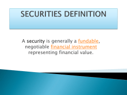 securities definition - Certified Forensic Loan Auditors, LLC