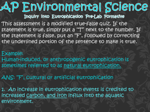 AP Environmental Science Inquiry into Eutrophication Pre