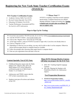 Registering for New York State Teacher Certification Exams (NYSTCE)