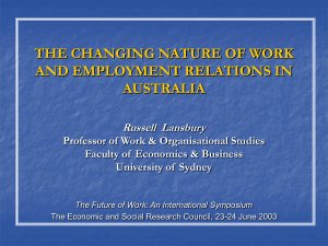 THE CHANGING NATURE OF WORK AND EMPLOYMENT