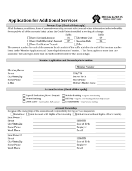 Application for Additional Services - Michael Baker Jr Federal Credit