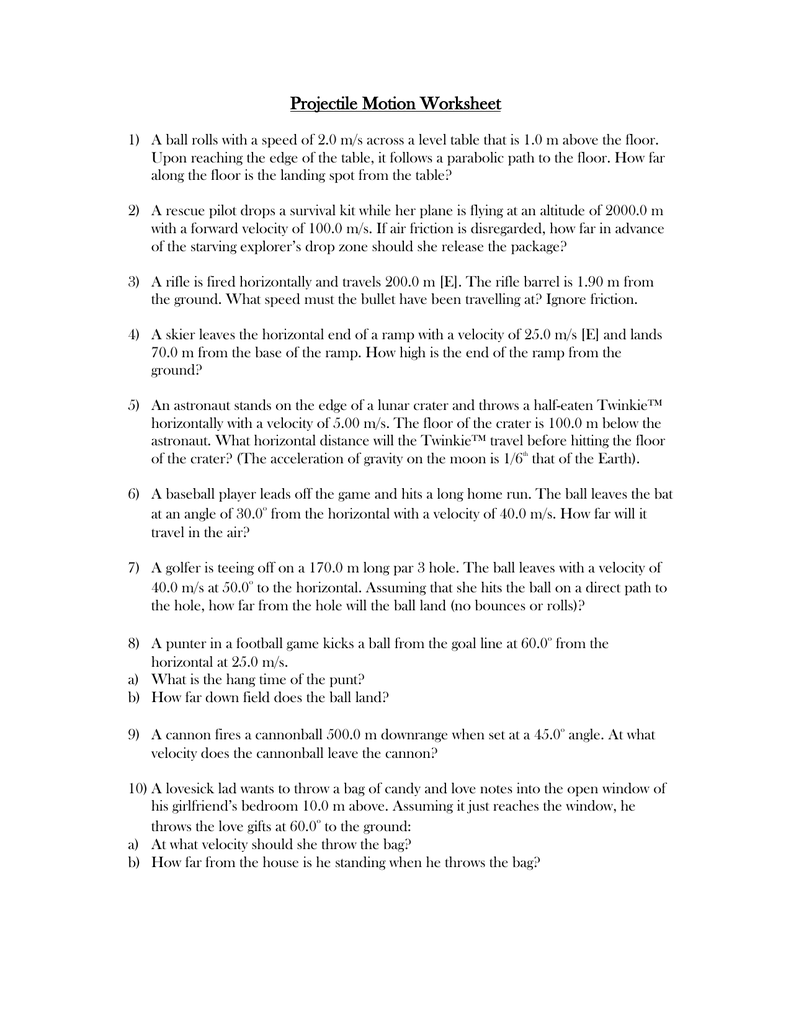 Worksheets Projectile Motion Worksheet With Answers projectile motion ws