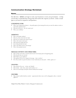 Communication Strategy Worksheet