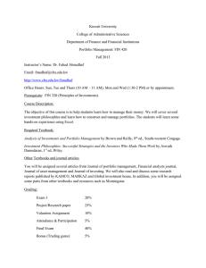 Syllabus Fin 420 - Fall 2013 - College of Business Administration