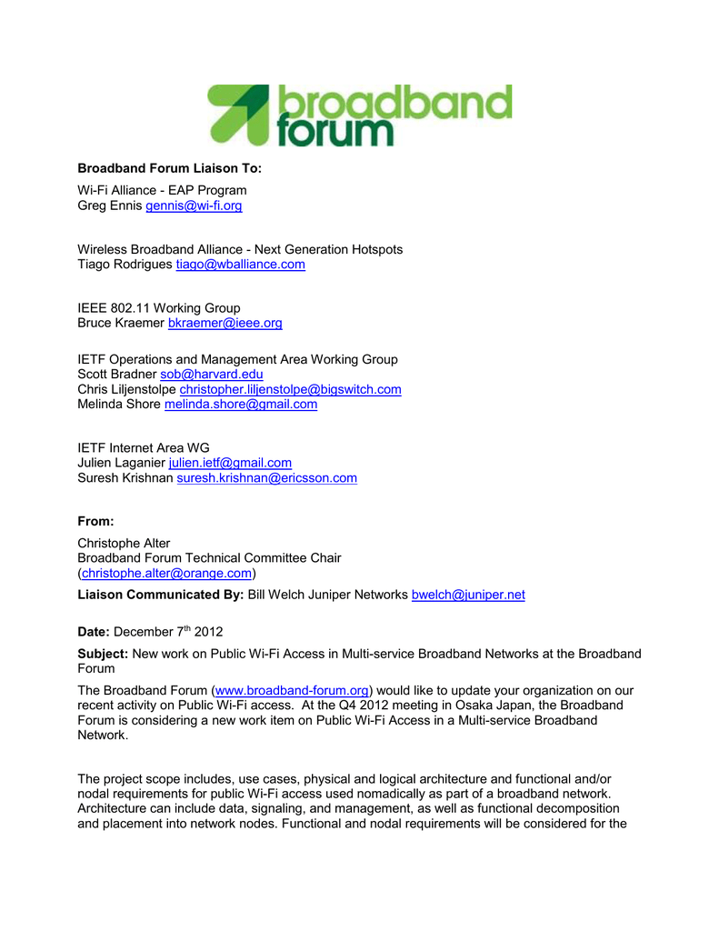 Notification of New work at Broadband Forum on Public Wi