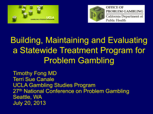 Slide 1 - National Council on Problem Gambling